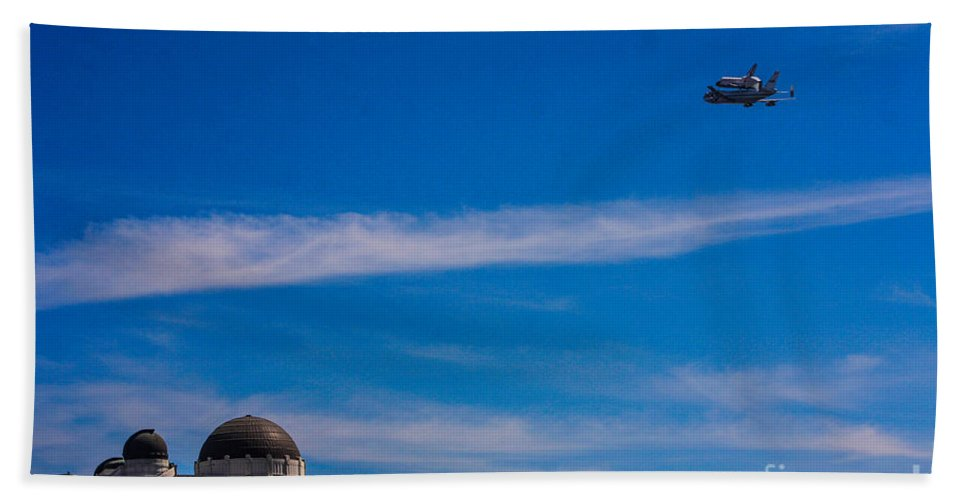 Space Shuttle Endevour Hand Towel featuring the photograph Space Shuttle Over Griffith Observatory by Tommy Anderson
