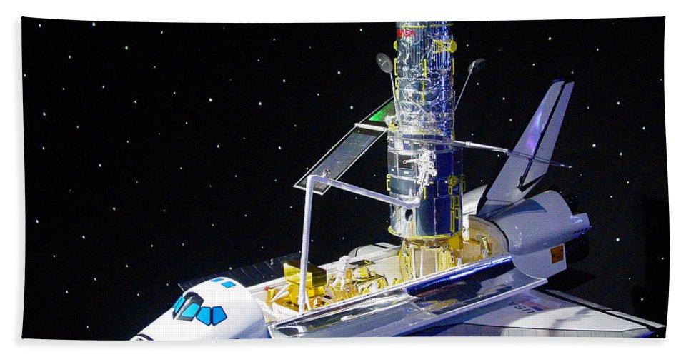 Pat Turner Hand Towel featuring the photograph Space Shuttle With Hubble Telescope by Pat Turner