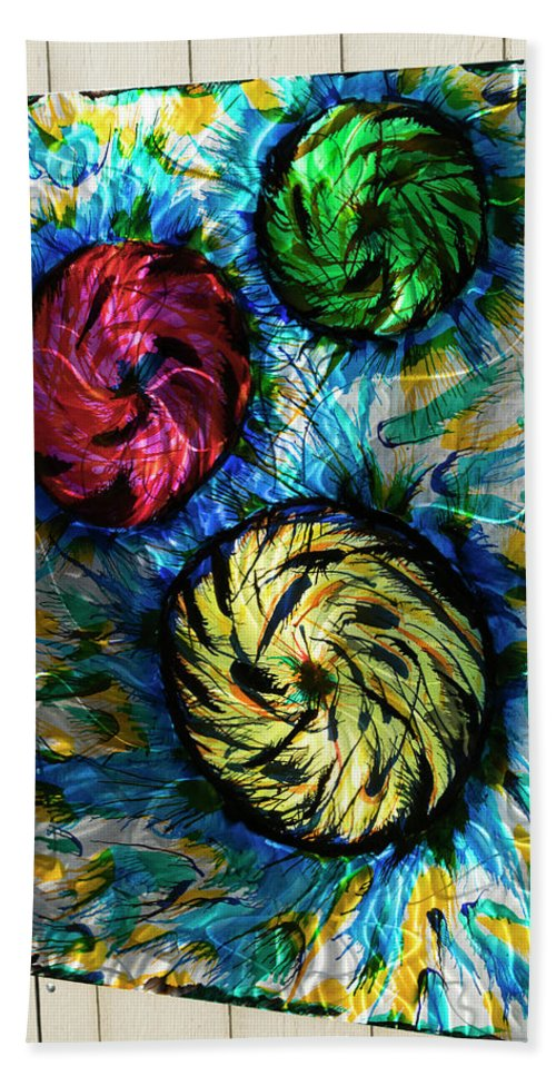 Abstract On Aluminum Hand Towel featuring the painting Space Storm by Robert Blackwell