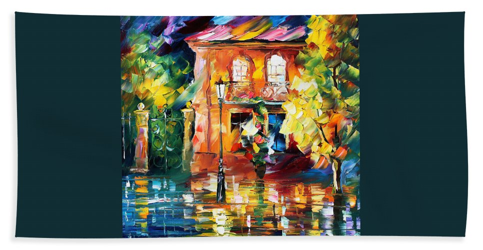 Afremov Bath Sheet featuring the painting Spain by Leonid Afremov
