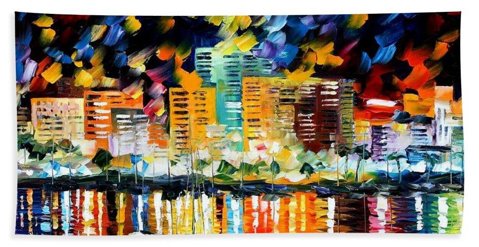 Afremov Bath Sheet featuring the painting Spain San Antonio by Leonid Afremov