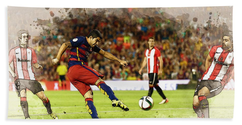 Home Art & Collectibles Bath Sheet featuring the digital art Spain Spanish Super Cup by Don Kuing