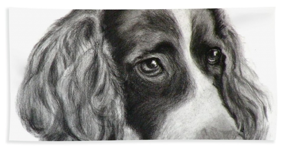 Dogs Hand Towel featuring the painting Spaniel Drawing by Susan A Becker