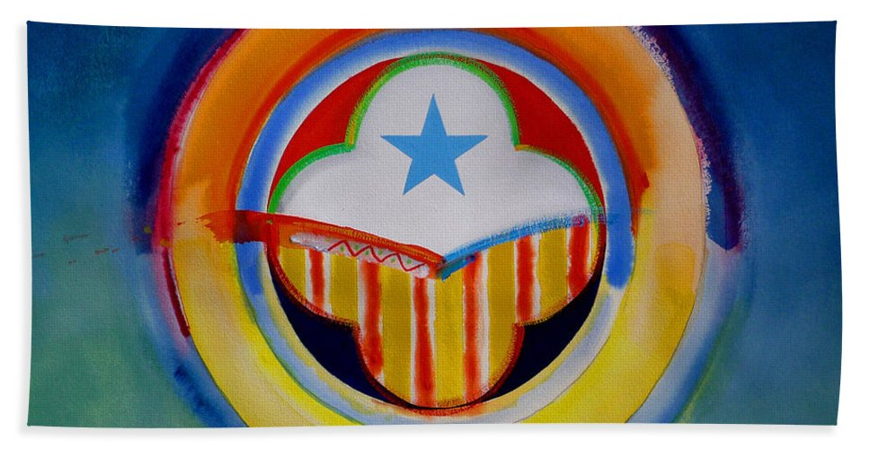 Button Bath Towel featuring the painting Spanish American by Charles Stuart