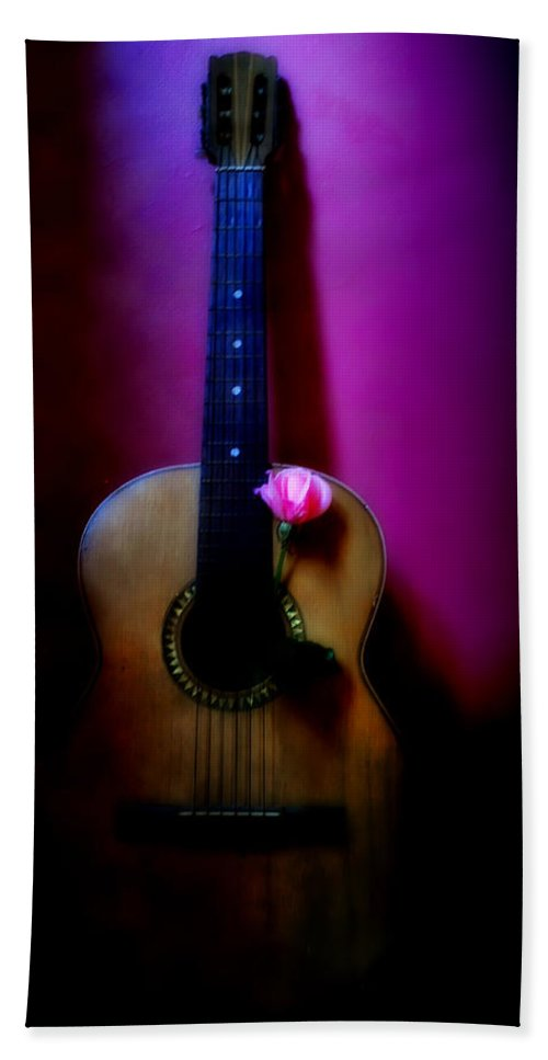 Spanish Bath Sheet featuring the photograph Spanish Guitar And Pink Rose by Bill Cannon