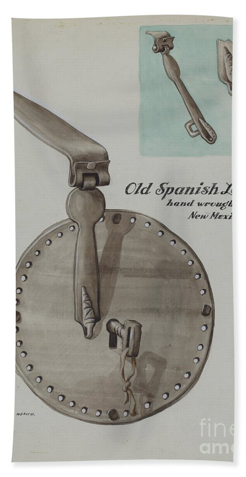 Hand Towel featuring the drawing Spanish Lock by Majel G. Claflin