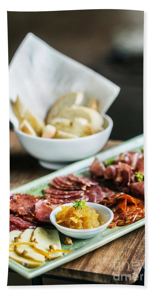 Charcuterie Hand Towel featuring the photograph Spanish Smoked Meats Ham And Cheese Platter Starter Dish by Jacek Malipan