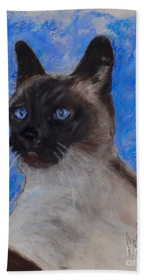Siamese Cat Hand Towel featuring the drawing Spark Of Life by Cori Solomon