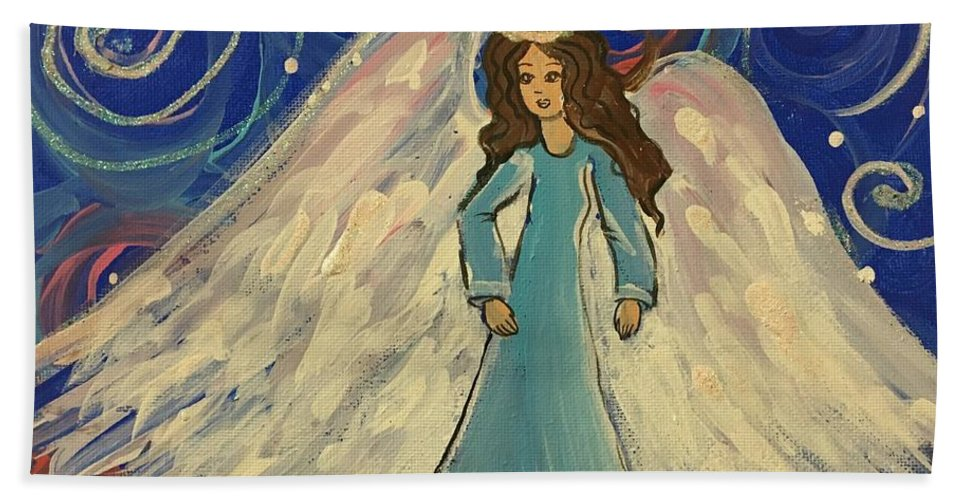 Easterseals Southwest Florida Bath Sheet featuring the painting Sparkle Angel by Jorge B