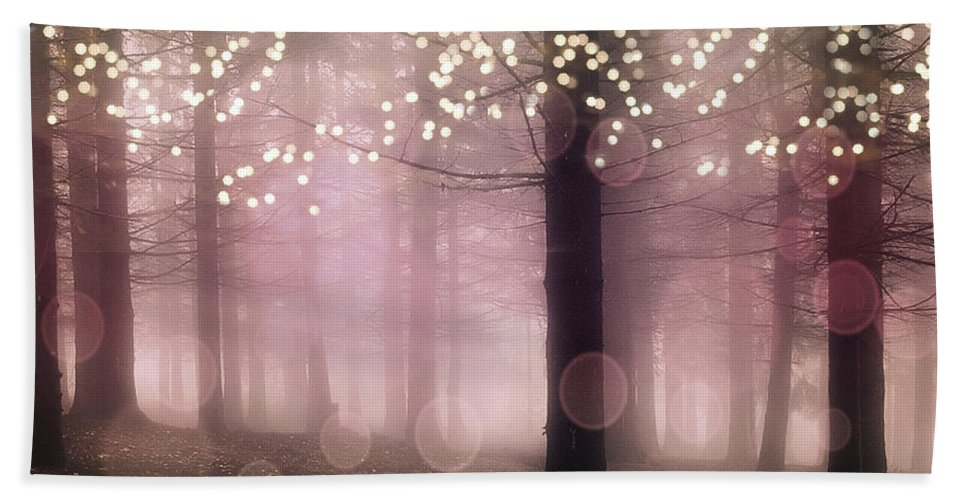 Fairytale Hand Towel featuring the photograph Sparkling Fantasy Fairytale Trees Nature Pink Woodlands - Sparkling Lights Bokeh Fantasy Trees by Kathy Fornal