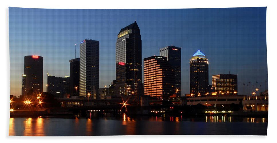 Fine Art Photography Bath Sheet featuring the photograph Sparkling Tampa Bay by David Lee Thompson