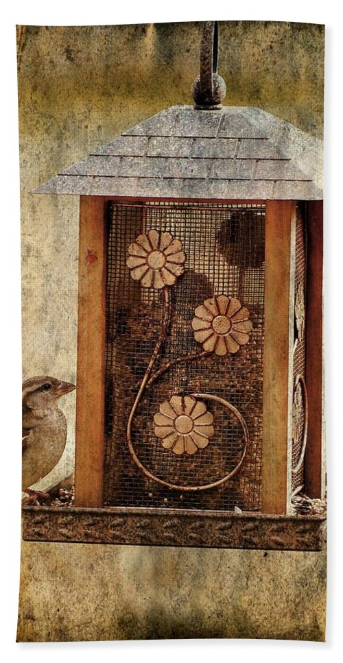 Bird Hand Towel featuring the photograph Sparrow On The Feeder by Angie Tirado