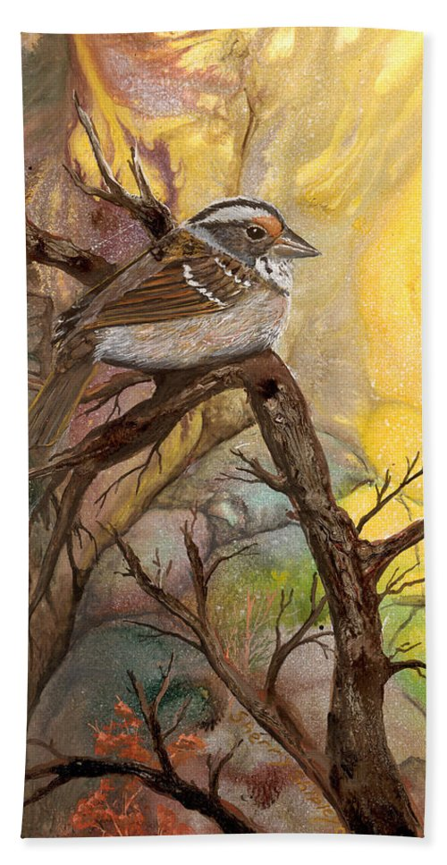 Bird Bath Sheet featuring the painting Sparrow by Sherry Shipley