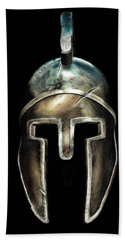 Spartan Hand Towel featuring the drawing Spartan Helmet by Ferran Serra