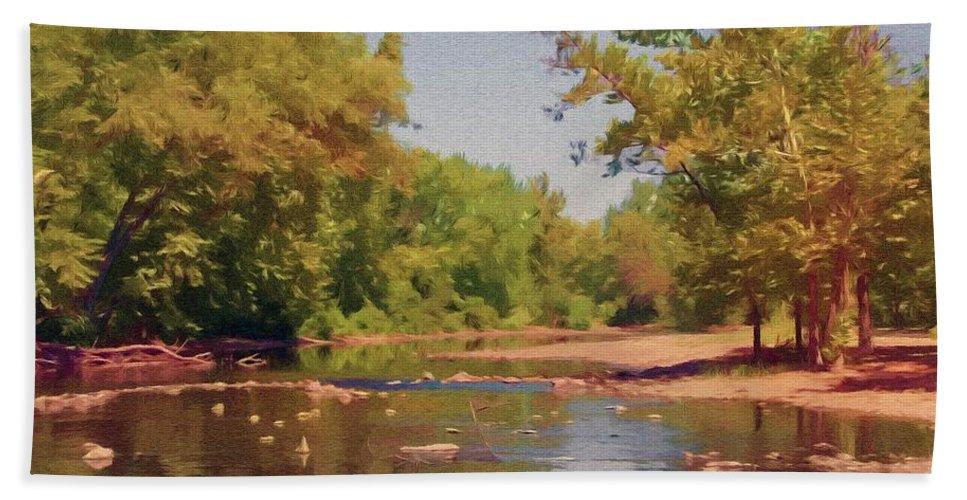 Creek Hand Towel featuring the painting Spavinaw Creek by Jeffrey Kolker