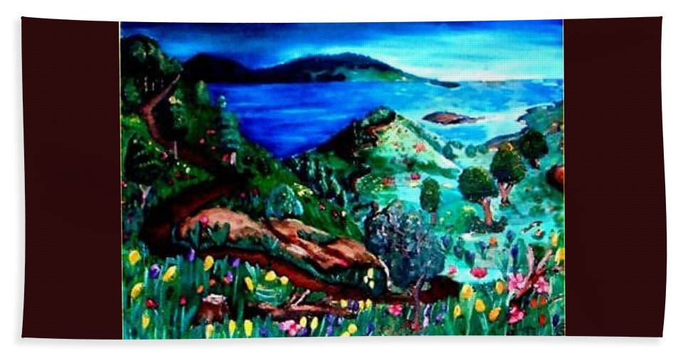 Landscape Bath Towel featuring the painting Special Land by Andrew Johnson
