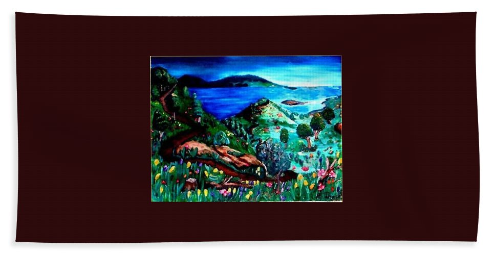 Landscape Bath Sheet featuring the painting Special Land by Andrew Johnson
