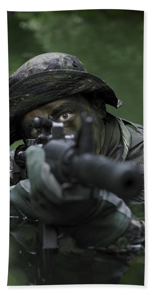 Special Operations Forces Bath Sheet featuring the photograph Special Operations Forces Soldier by Tom Weber