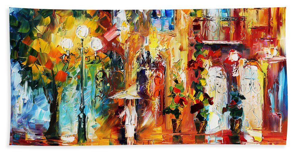 Afremov Hand Towel featuring the painting Special Rain by Leonid Afremov