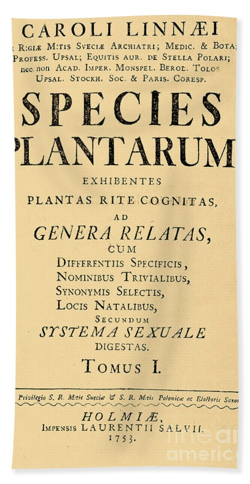 Historic Hand Towel featuring the photograph Species Plantarum, Linnaeus, 1753 by Science Source