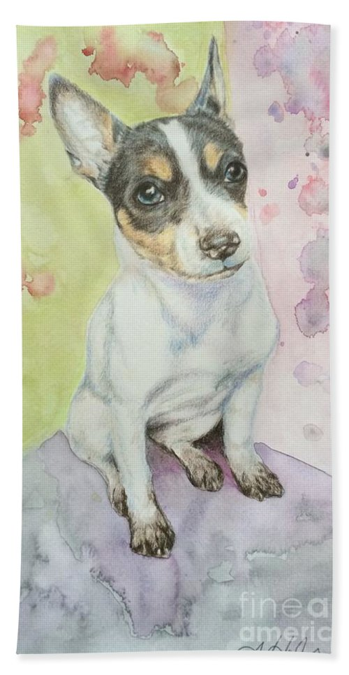 Dog Hand Towel featuring the painting Speckled Nose Muddy Toes by Amanda Hall