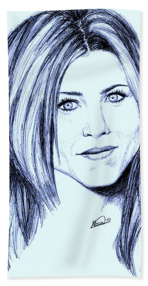 Portrait Hand Towel featuring the drawing Speed Drawing Of Jennifer Aniston by Alban Dizdari
