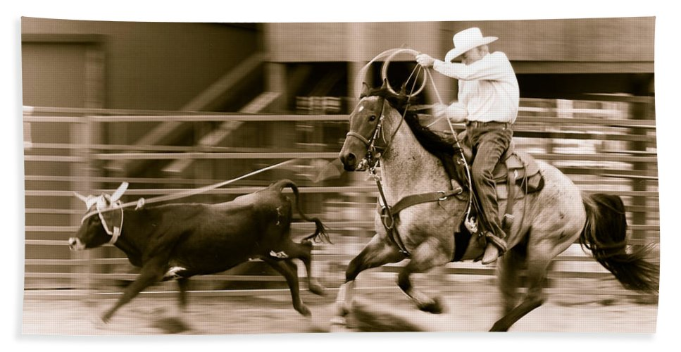 Rodeo Bath Sheet featuring the photograph Speed by Scott Sawyer
