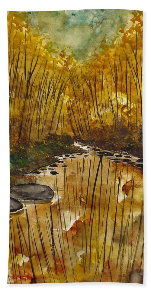 Landscape Bath Sheet featuring the painting Spending Time by Lisa Aerts