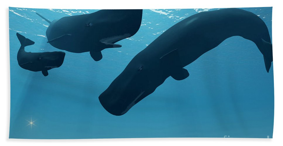 Whale Hand Towel featuring the painting Sperm Whale Encounter by Corey Ford