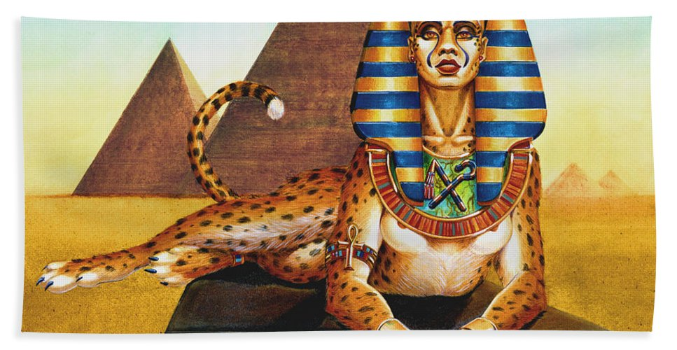 Cat Hand Towel featuring the painting Sphinx On Plinth by Melissa A Benson