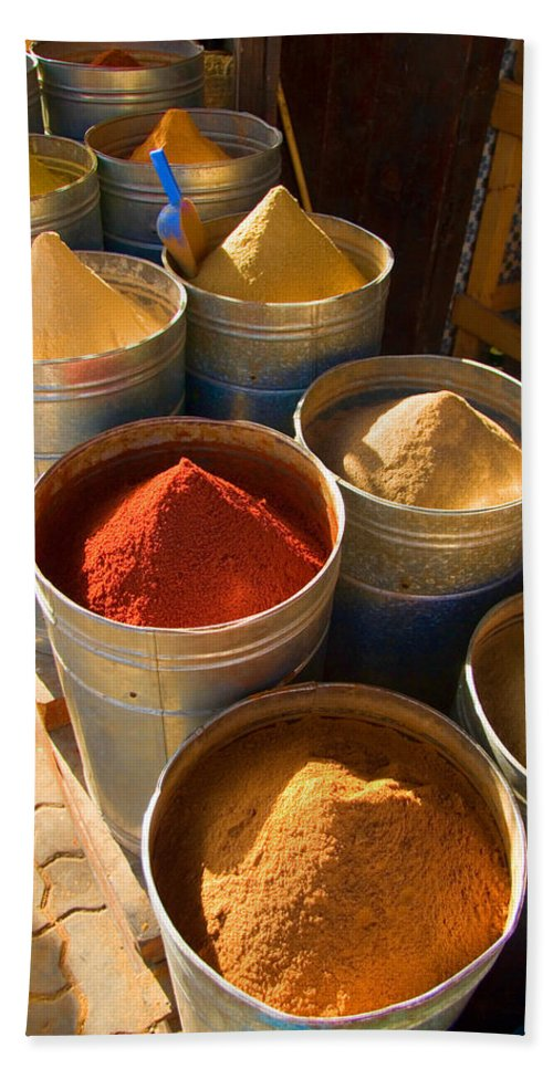 Spices Bath Towel featuring the photograph Spices In Marrakesh Morroco by David Smith