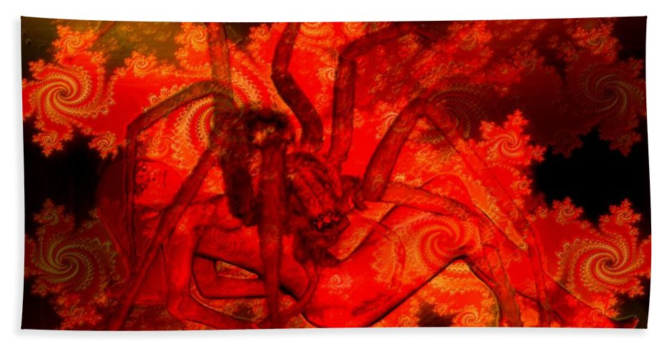Spider Bath Sheet featuring the digital art Spider Catches Virgin In Space by Helmut Rottler