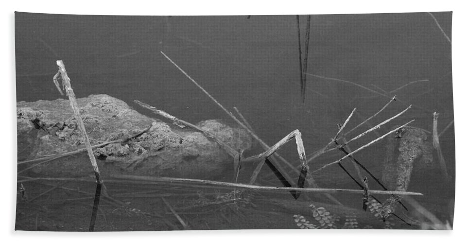Black And White Bath Towel featuring the photograph Spider In Water by Rob Hans