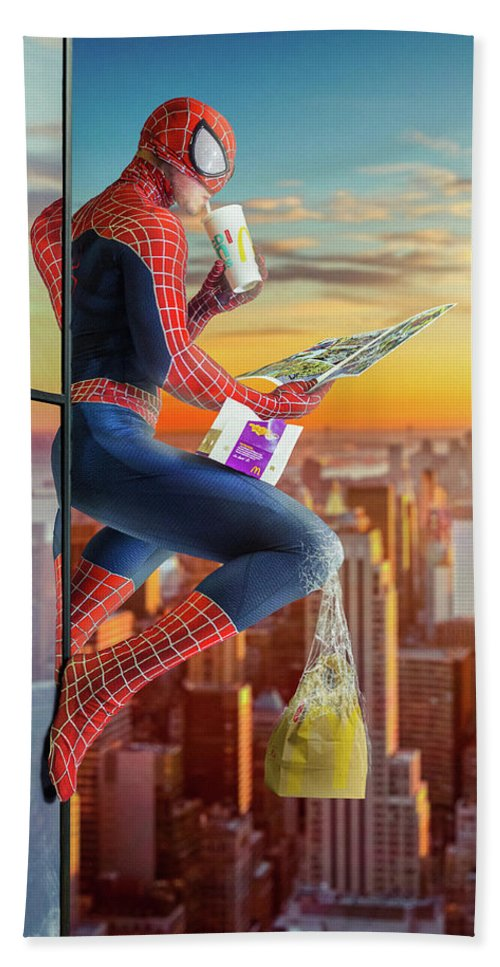 #building #wallcrawler #comic #comicart #comicbook #cosplay #homecoming #marvel #mcdonalds #newyork #newyorkcity #peterparker #skyscrapers #spiderman #cosplaycostume #spidermanmarvel #spidermanpeterparker Bath Sheet featuring the digital art Spider-man / Snack Break by Will Cook