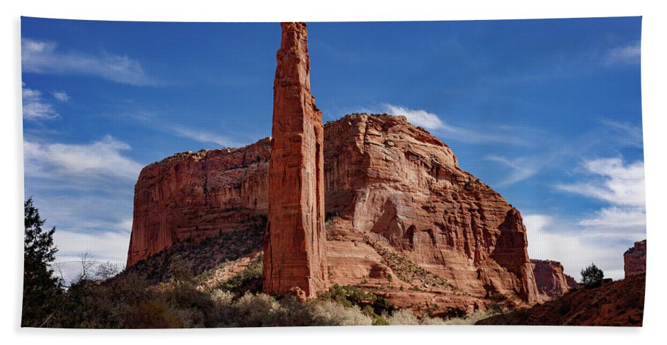 Spider Rock Bath Sheet featuring the photograph Spider Rock by Mike Penney