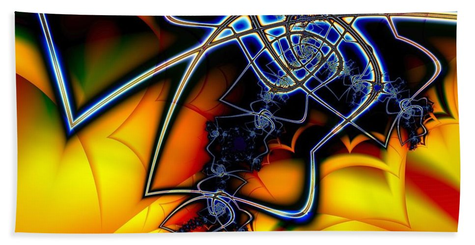 Spider Bath Sheet featuring the digital art Spiders Lair by Ron Bissett