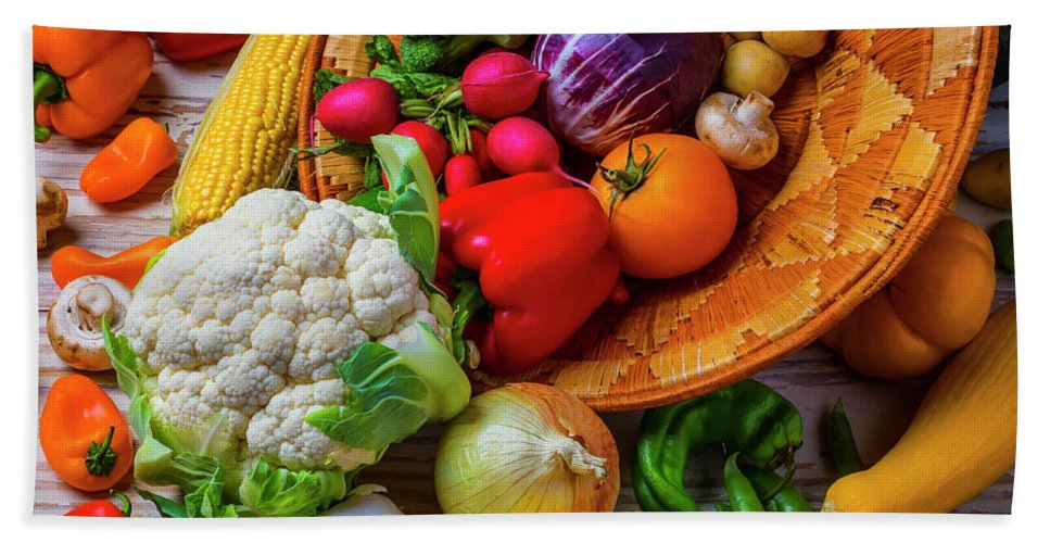 Vegetable Hand Towel featuring the photograph Spilling Basket Of Vegetables by Garry Gay