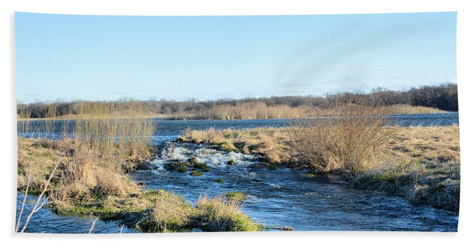 Marsh Hand Towel featuring the photograph Spillway Panorama by Bonfire Photography