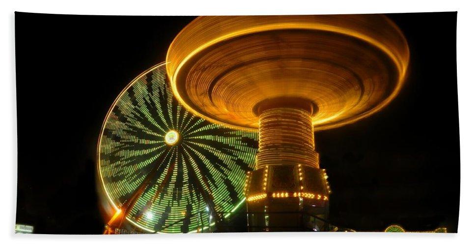 Florida State Fair Bath Sheet featuring the photograph Spinning Fair Fun by David Lee Thompson