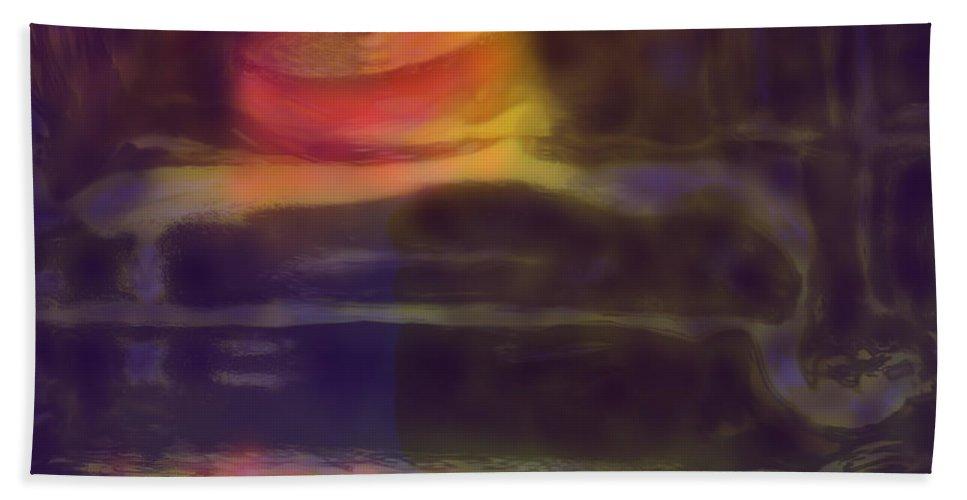 Abstract Bath Sheet featuring the digital art Spinning Light by Ian MacDonald
