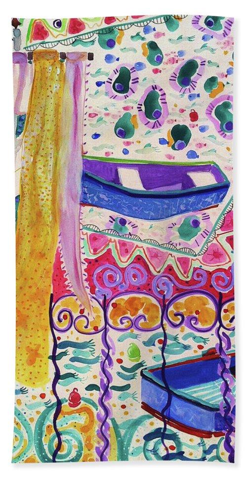 Boats Bath Sheet featuring the painting Spinola Bay by Deborah Burow