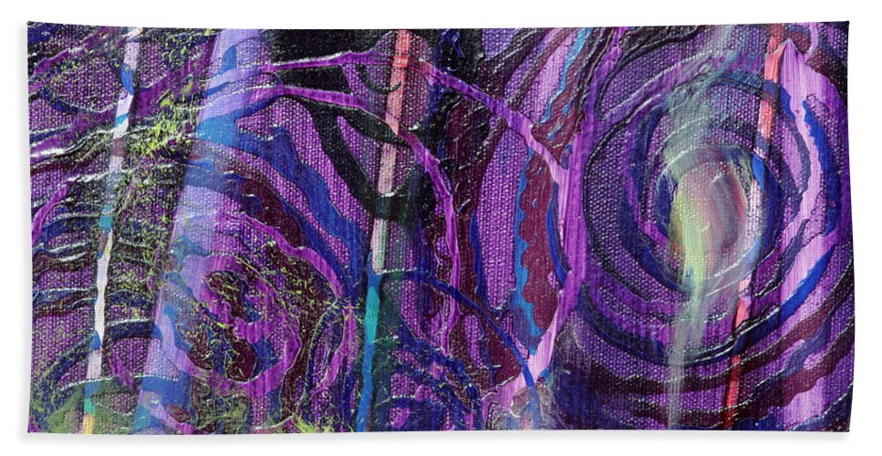 Psychedelic Bath Sheet featuring the painting Spiral Detail From Annunciation by Anne Cameron Cutri