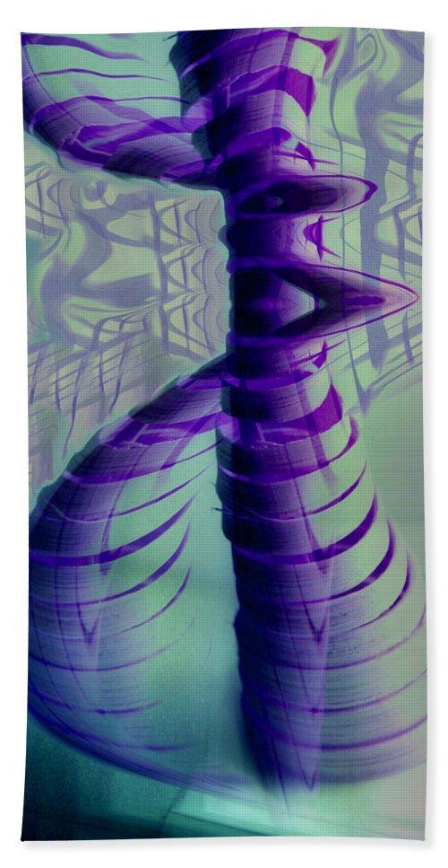 Abstract Art Hand Towel featuring the digital art Spiral by Linda Sannuti