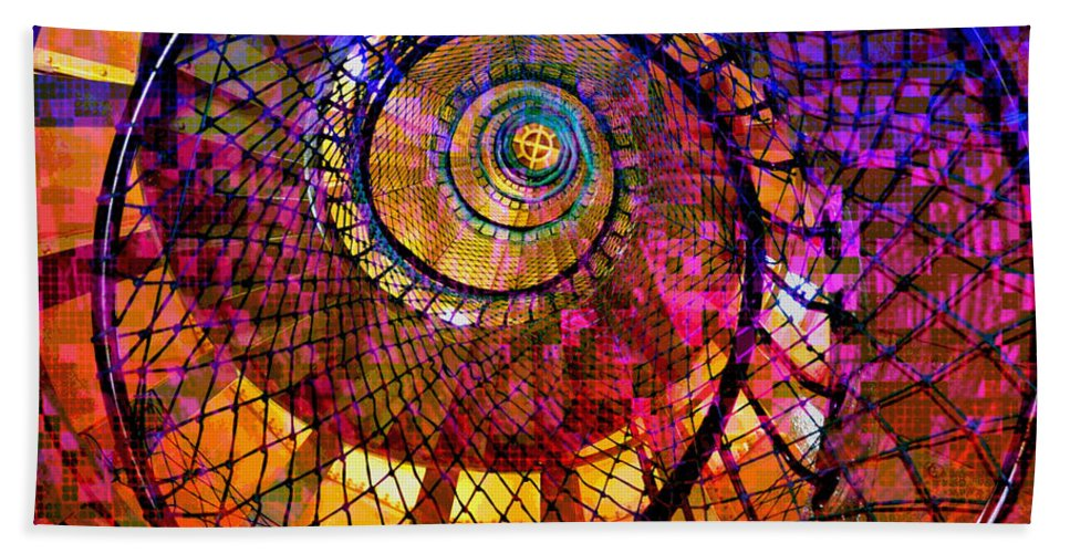 Digital-art Hand Towel featuring the digital art Spiral Spacial Abstract Square by Mary Clanahan