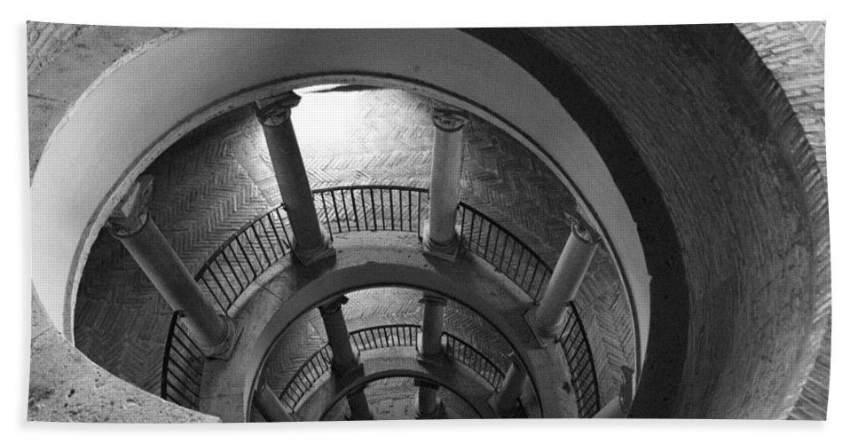 Spiral Staircase Bath Towel featuring the photograph Spiral Staircase by Donna Corless