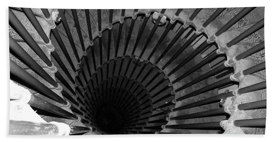 Spiral Staircase Bath Towel featuring the photograph Spiral Staircase In Lublijana by Donna Corless
