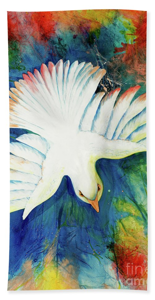 Dove Hand Towel featuring the painting Spirit Fire by Nancy Cupp