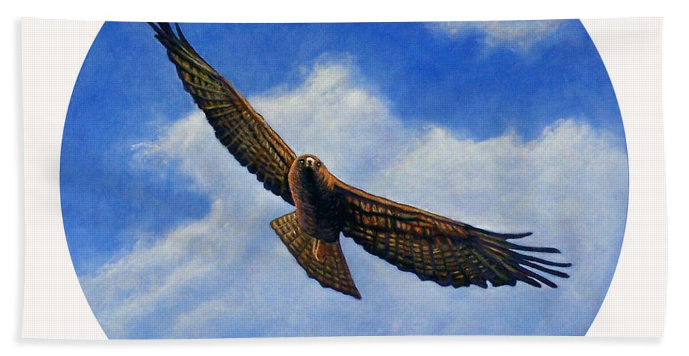 Hawk Bath Sheet featuring the painting Spirit In The Wind by Brian Commerford