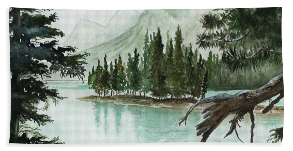 Landscape Bath Towel featuring the painting Spirit Lake by Brenda Owen