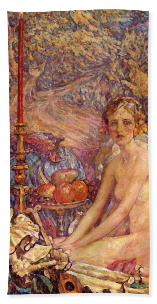 Spirit Hand Towel featuring the painting Spirit Of The Garden by Reid Robert Lewis